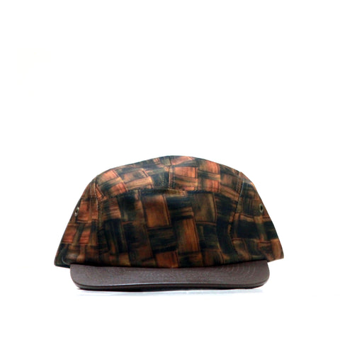 5 PANEL BROWN WEAVE HAT