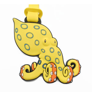 Looney Blue Ringed Octopus Luggage Tag