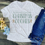 Christmas Cookies White Marble V-neck
