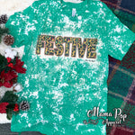 **SUBLIMATED** Bleached Heather Kelly Cheetah Festive