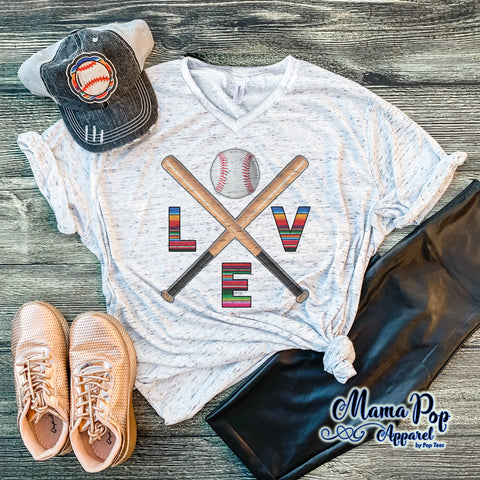 Love Crossed Bats Marble V-neck