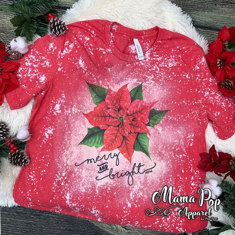 **SUBLIMATED** Bleached Heather Red Poinsettia