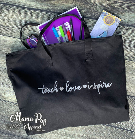 **Minimum 6 Pieces per Design** Love Teach Inspire Tote Bag