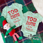 Too Cute for the Naughty List onesie-Green