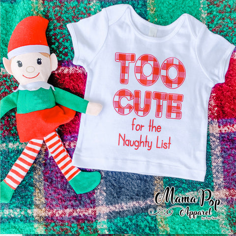 Too Cute for the Naughty List onesie-White