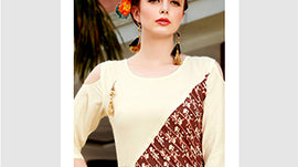 Ivory with Brown Designer Wear Women Fashion