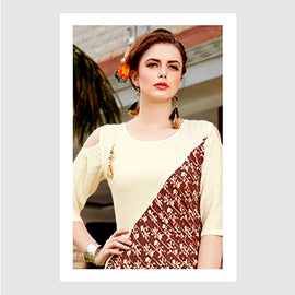 Cream with Brown Designer Wear Women Fashion