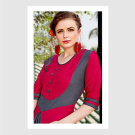 Magenta with Grey Designer Wear Women Fashion