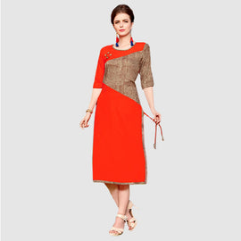 Red with Brown Stripes Women Fashion