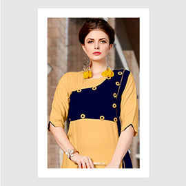 Yellow & Navy Blue Designer wear Women Fashion