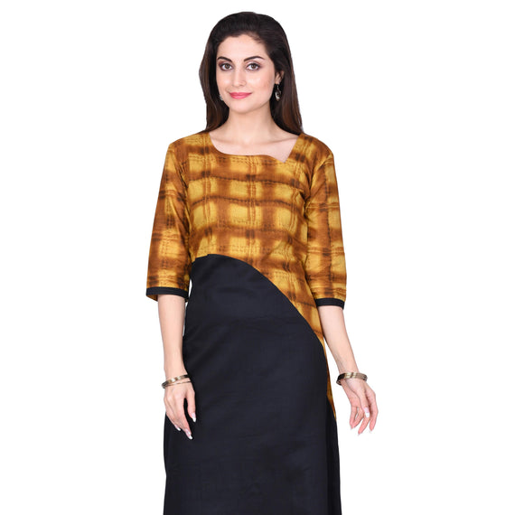 Yellow & Black Print  Kurta