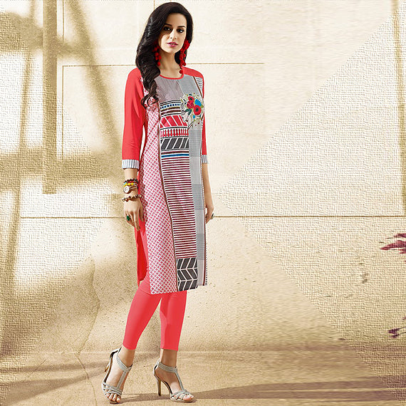 Red Abstract Printed Curved Neck Kurta for women
