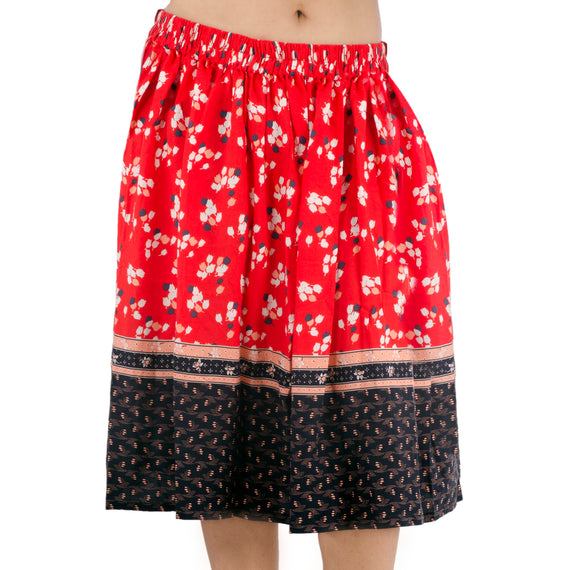 Flared Skirt | Red with White Floral Print