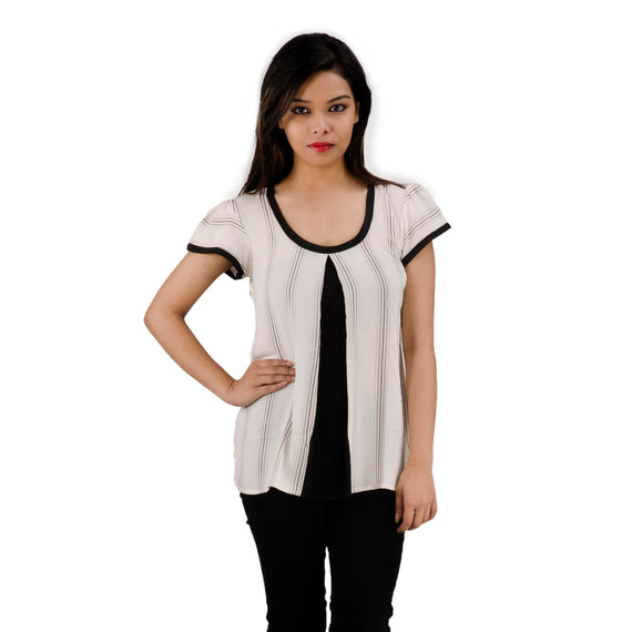 Puff Sleeves | U-Neck With Black Piping