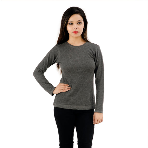 Full Sleeves | Ladies Grey Round Neck T-Shirt for Women
