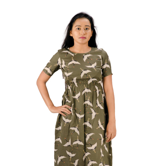 Dark olive green | Swan Print | Midi Dress | Half Sleeve