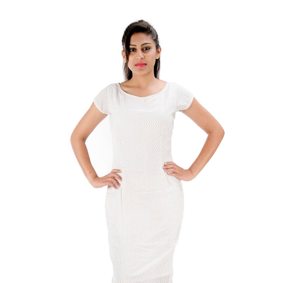 White With Grey Zig Zag Pattern | Slim Fit | Bodycon