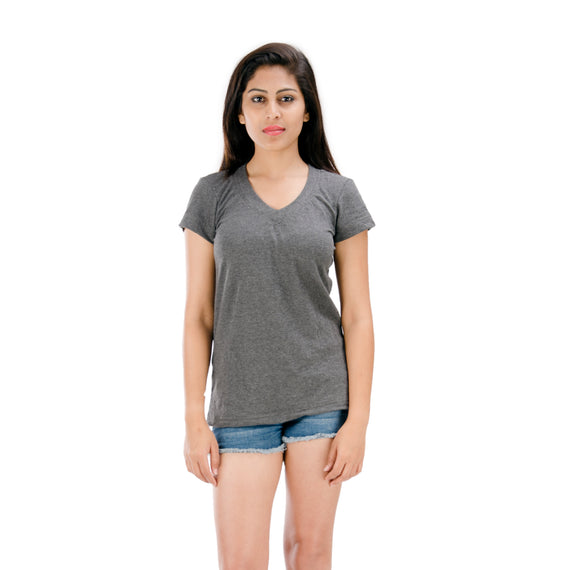 Short Sleeves | Grey V-Neck | T-Shirt