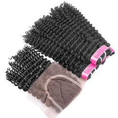 Brazilian Kinky Curly Natural Color 3 Bundles Deal with 4x4 Closure
