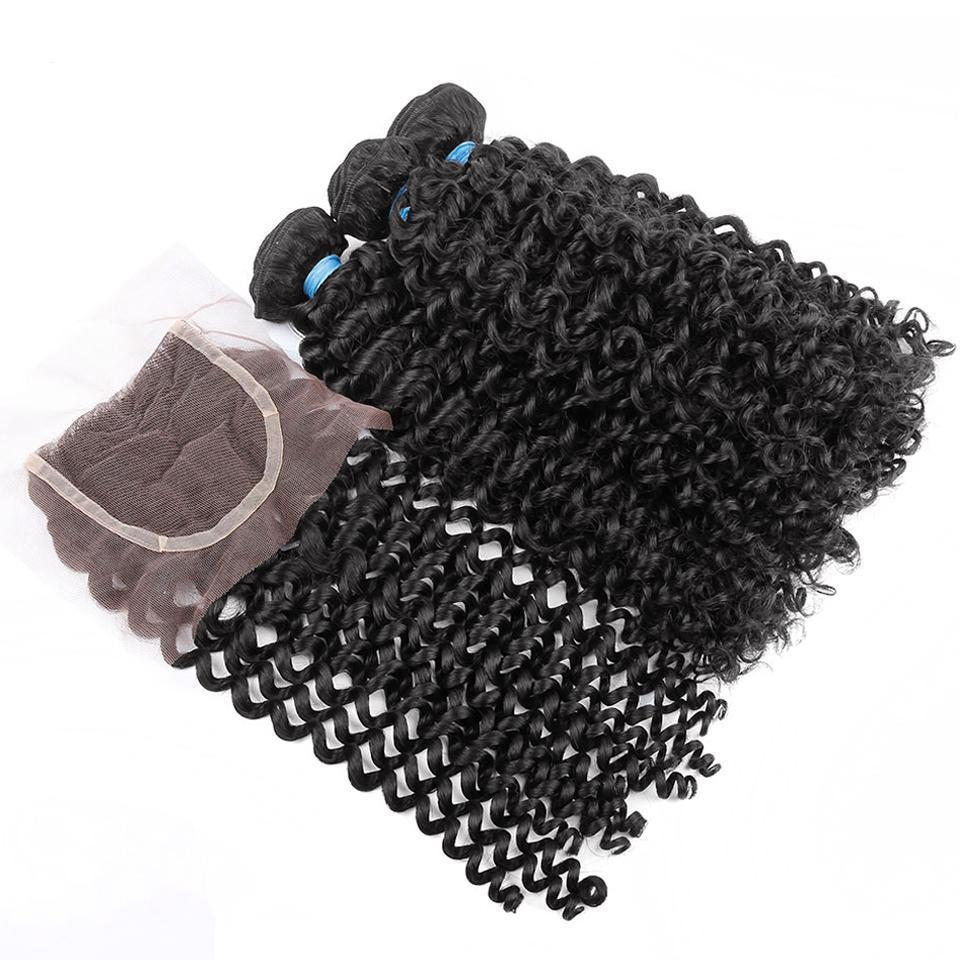 Malaysian Curly Natural Color 3 Bundles Deal with 4x4 Closure