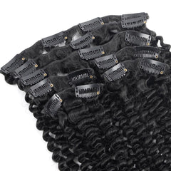 7 Pieces Brazilian Kinky Curly Clip Ins Hair Extensions