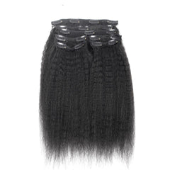 7 Pieces Brazilian Kinky Straight Clip Ins Hair Extensions