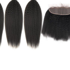 Brazilian Kinky Straight 3 Bundles with Lace Frontal
