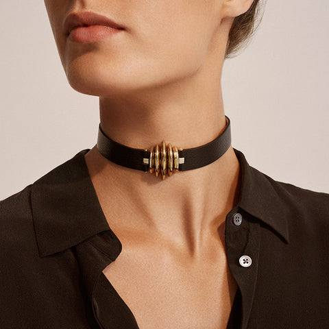 C.W. James Selene choker leather jewellery made in Australia