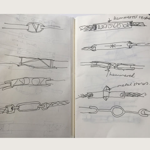 C.W. James jewellery sketches in sketchbook
