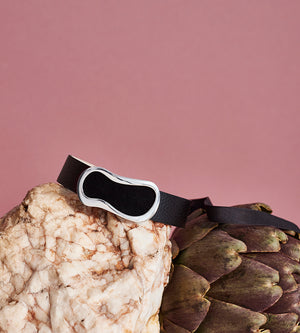 black leather and brass choker still life with artichoke