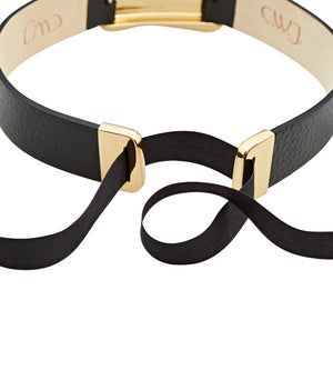 C.W. James brass and black leather choker ribbon clasp