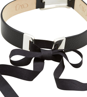 black leather and silver choker ribbon clasp detail