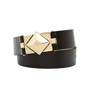 brass and black leather double wrap bracelet