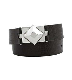 C.W. James silver and black leather double wrap bracelet
