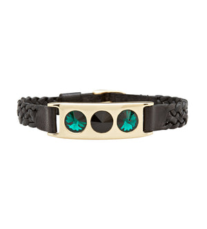 leather and brass bracelet with Swarovski crystals by C.W. James