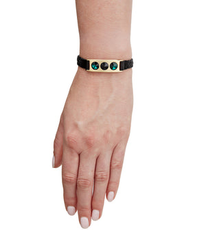 black leather and brass bracelet with Swarovski crystals by C.W. James