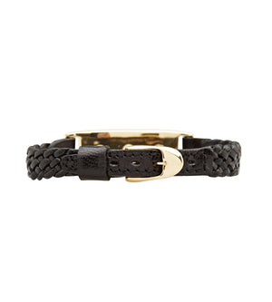black leather and brass bracelet with Swarovski crystals by C.W>James