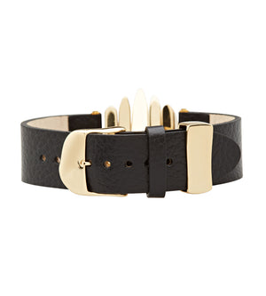 brass and black leather bracelet buckle C.W. james jewelry