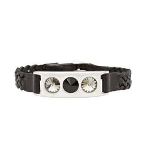 black leather and silver bracelet with Swarovski crystals