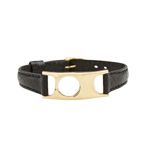 C.W. James jewellery Viola bracelet black leather and brass
