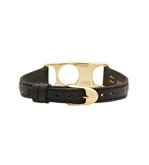 C.W. James jewellery Viola bracelet black leather and brass buckle