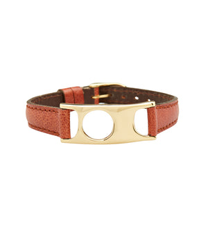 C.W. James jewelry Viola bracelet brown leather and brass