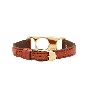 C.W. James jewelry Viola bracelet brown leather and brass buckle
