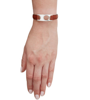 C.W. James jewellery Viola bracelet brown leather and silver on hand