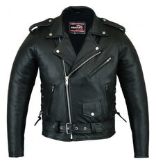Motorbike leather jacket brando style with side laces