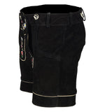 Authentic Leather Short Lederhosen Women Oktoberfest Costume Black Side View