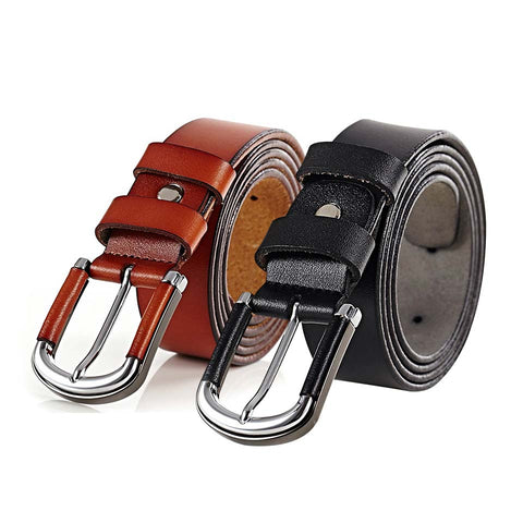 Formal Leather Belt Alloy Covered Buckle