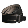 Genuine Leather Auto Lock Antique Buckle Cotton Lining Soft Black Belt