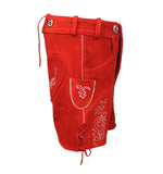Authentic Leather Short Lederhosen Women Oktoberfest Costume Red Side View