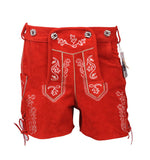 Authentic Leather Short Lederhosen Women Oktoberfest Costume Red Front View